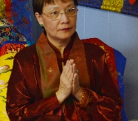 Jetsun Ma Master Teacher Holynn at the start of the Sacred Blessing Program on April 27, 2014. the program serves to re-affirm donors' annual Pledge to their Buddha Statues housed at Yuan Yuan Educational Foundation's private shrine.