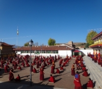 Completed 2012 Debate-Courtyard-Repaving Project equipped with new lamp posts, new bricks and uplifted spirits at Langyi Monastery.